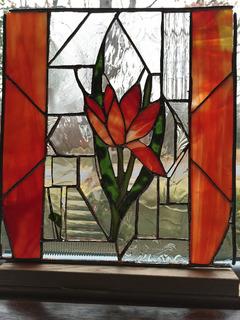 Red Flower in Diamond